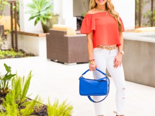 topshop, orange off the shoulder top, white ripped denim, blue handbag, baublebar bracelet, nude joie heels