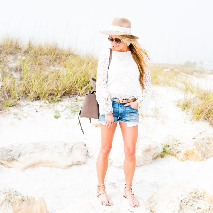 lace blouse, bell sleeves, cut off shorts, jean shorts, aviators, gucci, rag and bone fedora, valentino sandals, rockstud, turquoise earrings