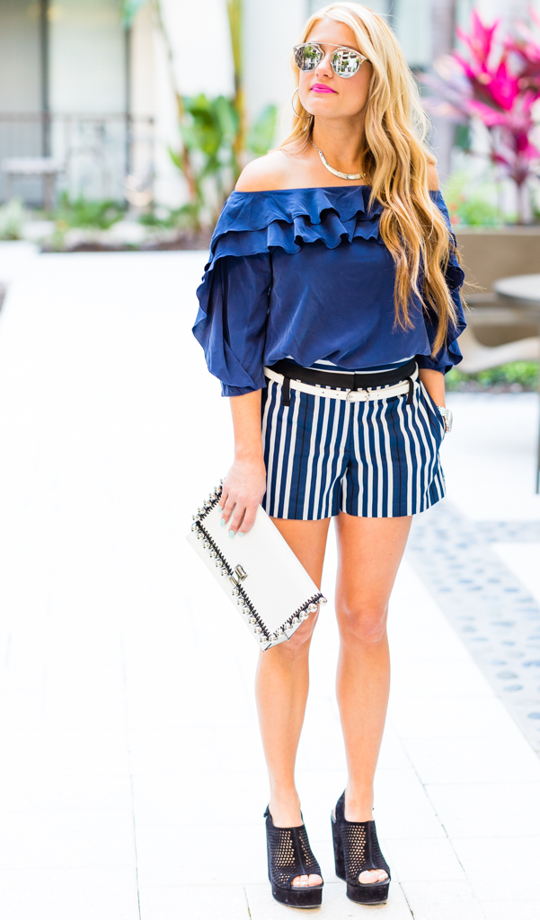 striped rag and bone shorts, blue ruffle top, off the shoulder top, black wedges, pedro garcia, dior aviators, proenza schoule