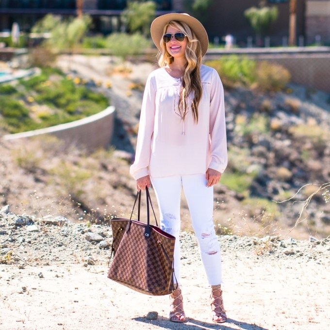 vince camuto blouse, lace up blouse, white ripped denim, gold aviators, gucci 58mm aviators, fedora, rag and bone hat, gladiator sandals, ivanka trump shoes, louis vuitton, neverfull