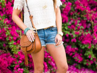 crocheted top, denim cutoffs, chloe handbag, gucci aviators, gold necklace, gladiator sandals, turquoise bracelet