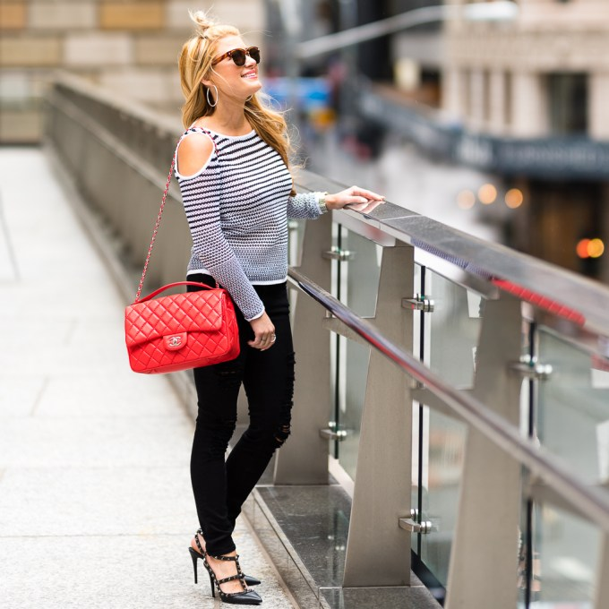 Black and White Top with Red Chanel POST-5