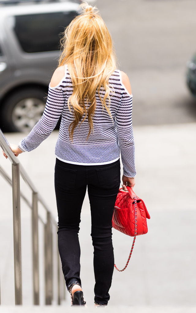 Black and White Top with Red Chanel POST-7