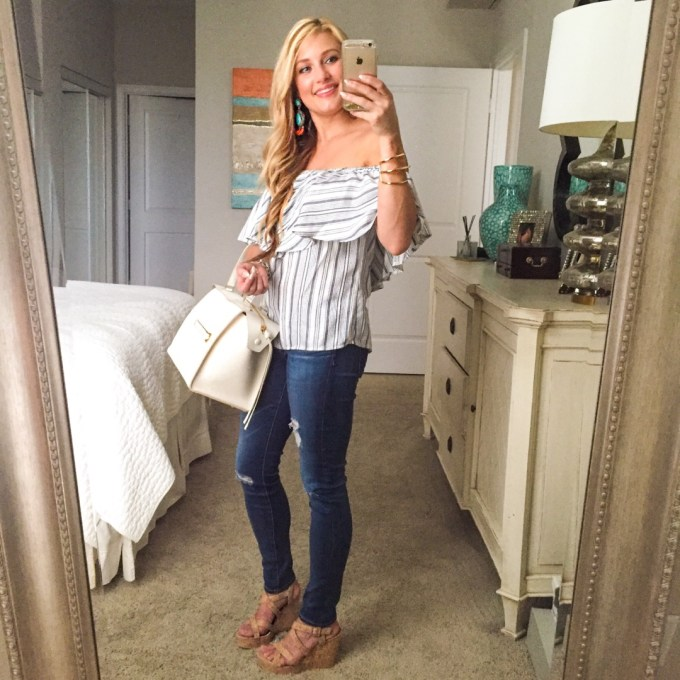 off the shoulder blouse, jeans, celine bag, striped top, turquoise