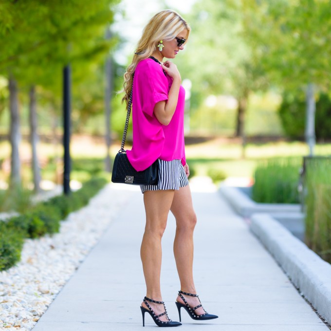 pink dvf top, striped shorts, valentino rockstud pumps, chanel boy, silk poncho, celine sunglasses, rag and bone pencil skirt