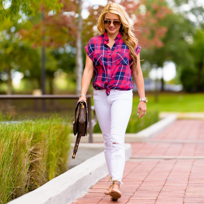 rails shirt, nordstrom, plaid, white denim, rips, gladiator sandals, gold sandals, louis vuitton handbag, celine aviators,