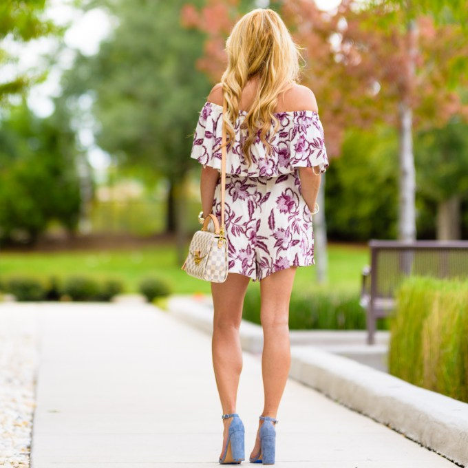 printed romper, nordstrom, blue suede shoes, steve madden heels, louis vuitton handbag