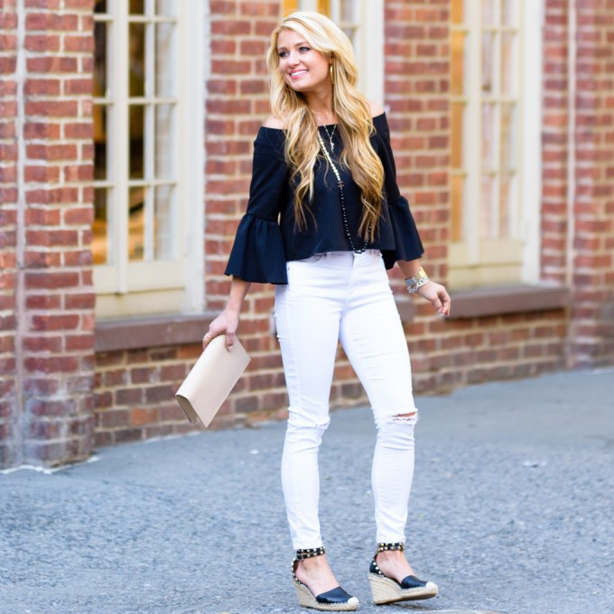 bell sleeves, white ripped denim, valentino wedges, rockstud espadrilles, ysl clutch, chanel necklace, lana necklace
