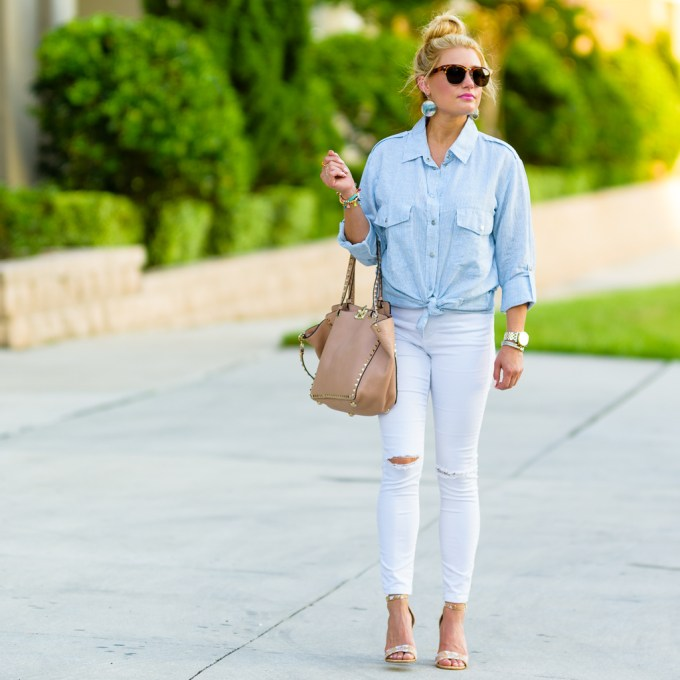 linen button down, white ripped denim, valentino handbag, cork heels, printed heels, neutrals, valentino handbag