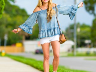 denim on denim, flowy top, cold shoulder top, denim top, ruffles, white cutoffs, cutoff shorts, tory burch handbag, gold sandals, mcm sunglasses