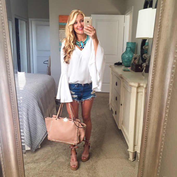 bell sleeves, turquoise, cutoff shorts, valentino bag, wedges