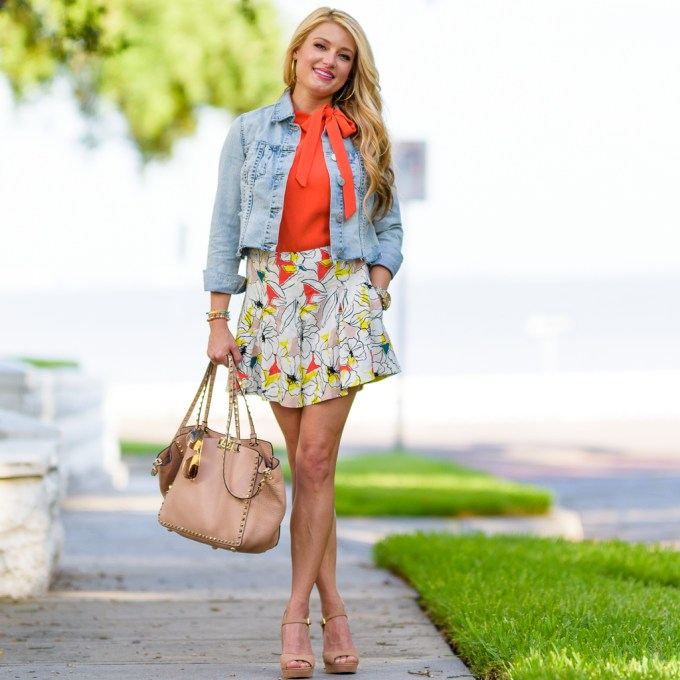 denim jacket, orange halter top, valentino handbag, printed shorts,