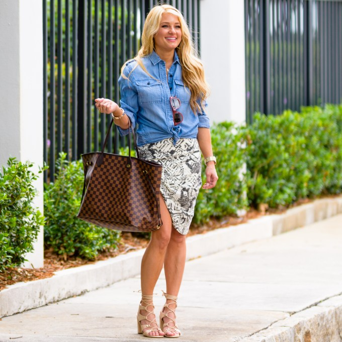 printed skirt, louis vuitton, neverfull, damier louis vuitton, gold sandals, ivanka trump shoes, nude heels, lace up heels, chambray shirt, chloe small faye, givenchy sunglasses, olive green jacket, cropped jacket
