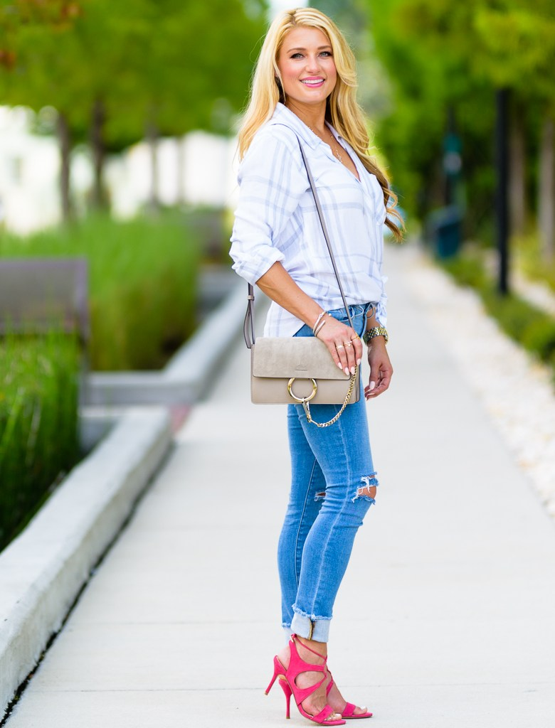 rails plaid shirt, ripped denim, pink heels, chloe handbag