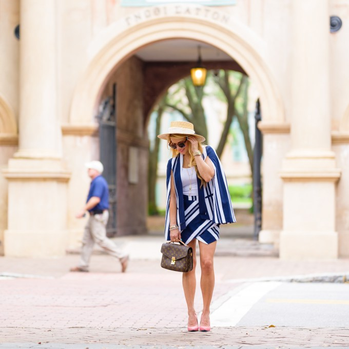 navy and white stripes, straw hat, rag and bone, pink pumps, cape, skort