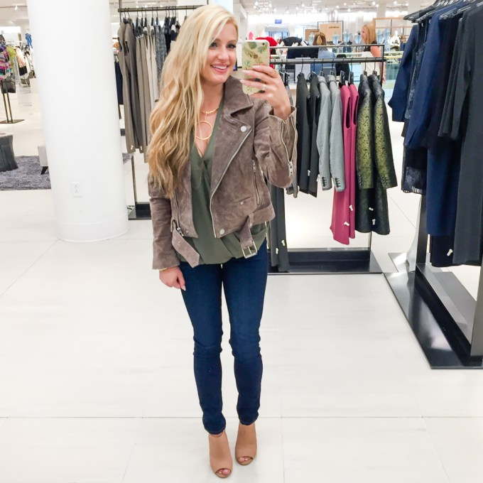 BLANKNYC, SUEDE JACKET, JEANS, PAIGE DENIM, BOOTIES
