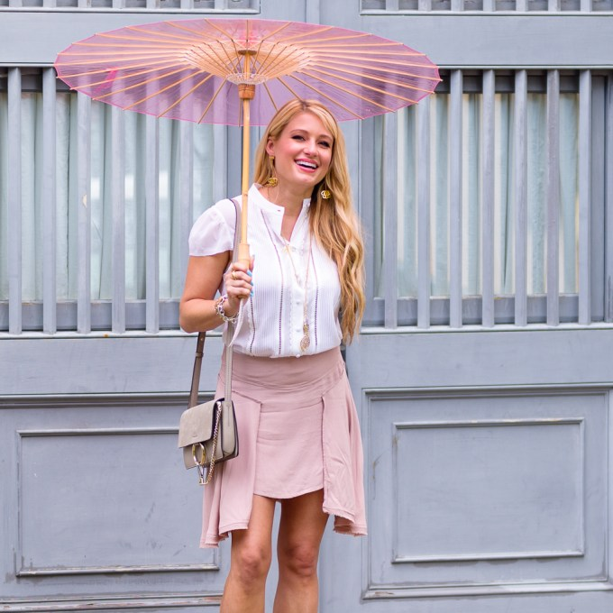 pink skirt, grey lace up heels, cream blouse, chloe drew bag, brelli, baublebar earrings