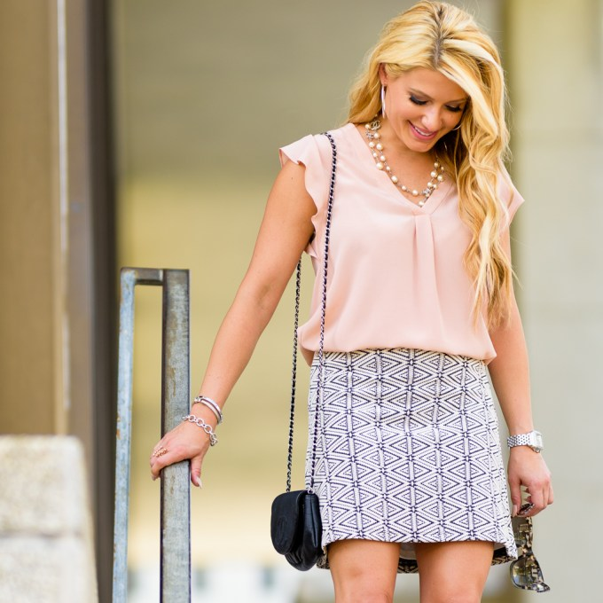 joie blouse, light pink, printed skirt, lace up heels, sam edelman, chanel half moon, wallet on a chain, celine sunglasses, topshop
