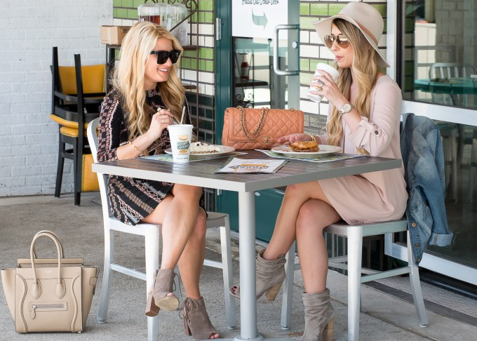 blogger besties, lunch, tampa, goody goody, free people dress, rag and bone hat, celine handbag, micro luggage, chanel handbag, open toe booties, suede booties, floppy hat