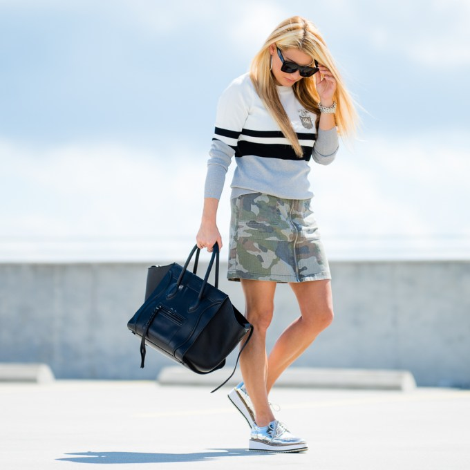 camo skirt, topshop, stripe sweater, metallic shoes, lace up oxfords, celine sunglasses, celine phantom