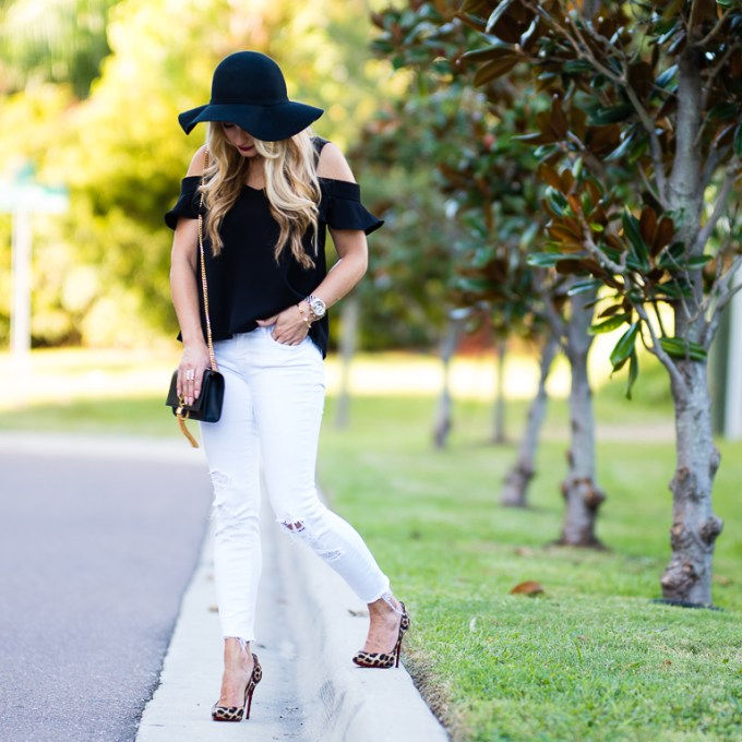 floppy hat, choker, white denim, fall transition, leopard pumps, christian louboutin pigalle, off the shoulder top, cold shoulder top, jbrand jeans, topshop top, chelsea28, nordstrom, otk boots, stuart weitzman highland, over the knee boots, saint laurent monogram, ysl handbag