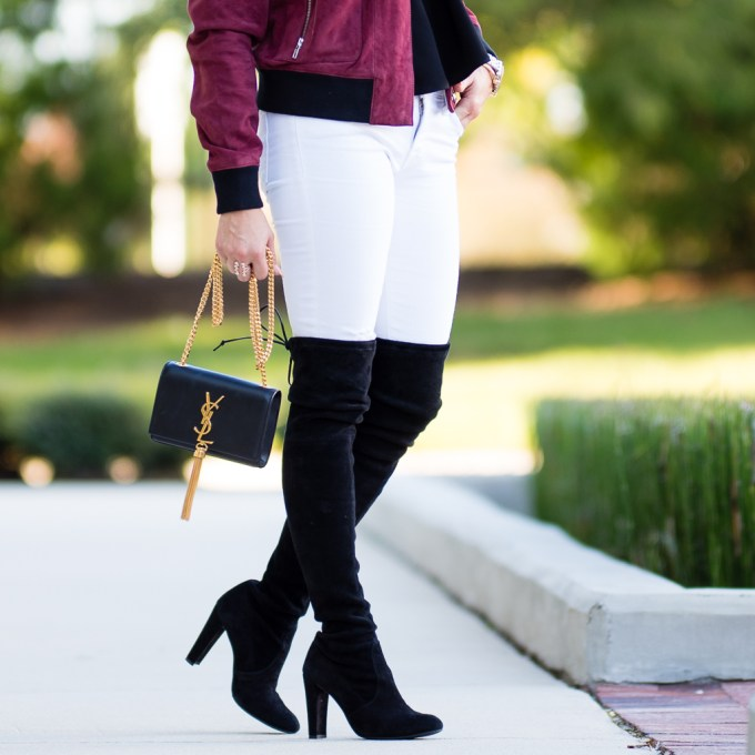 burgundy suede, white denim, ripped denim, otk boots, over the knee boots, off the shoulder tops, saint laurent monogram, floppy hat, leopard pumps, pigalle, celine, sunglasses, topshop top, choker