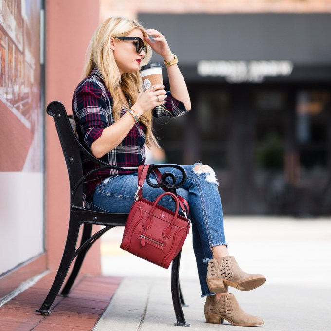 rails plaid, joes jeans, ripped denim, booties, vince camuto, celine nano, celine sunglasses