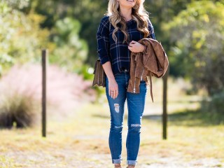 plaid, astr, ripped denim, ag jeans, sam edelman, lace up pumps, nude pumps, suede jacket, ray ban aviators, mirrored aviators, gucci handbag, dionysus