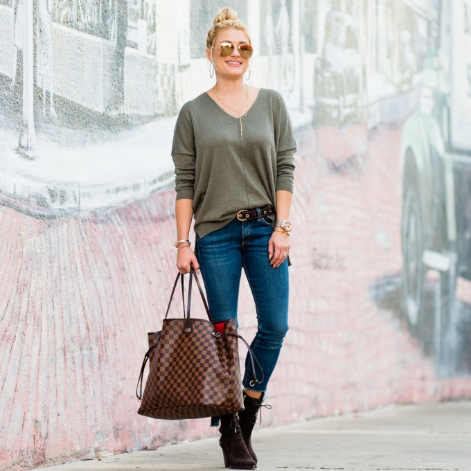 louis vuitton neverfull, rag and bone jeans, olive green sweater, ray ban aviators, mirrored sunglasses, marc fisher boots