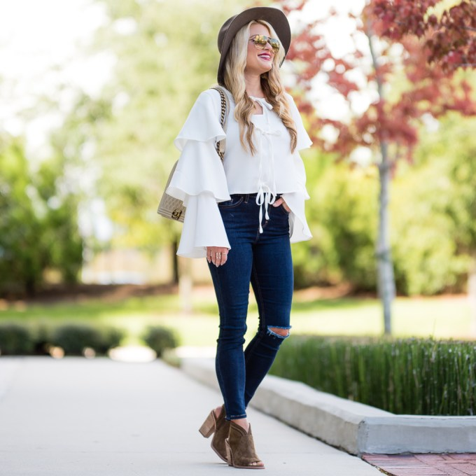 chicwish, bell sleeves, celine aviators, vince camuto shoes, topshop denim, chanel boy