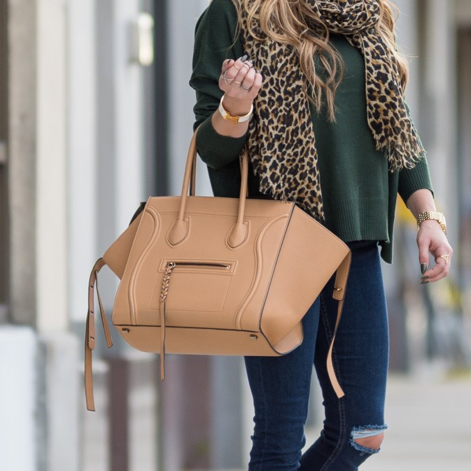 bp sweater, leopard scarf, celine aviators, topshop denim, celine phantom