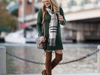 sweater dress, burberry scarf, lowland boots, louis vuitton bag, stuart weitzman boots, otk boots, ray ban aviators, mirrored aviators