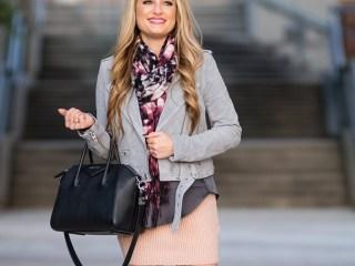 gray suede jacket, blanknyc, givenchy antigona handbag, stuart weitzman boots, highland boots, sweater skirt