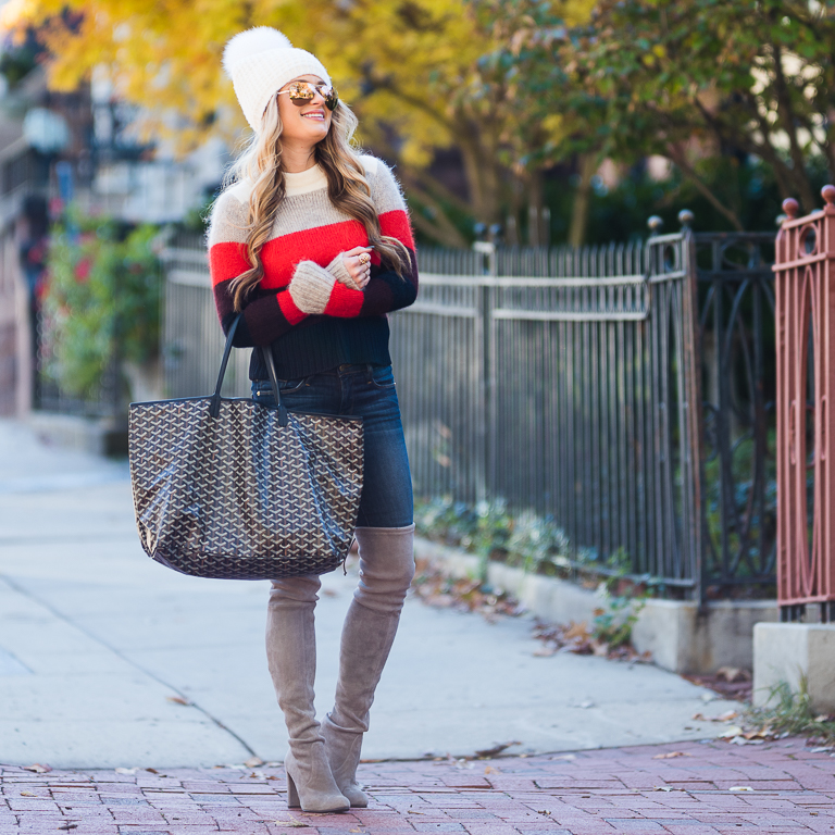 rag and bone sweater, frame denim, over the knee boots, goyard st louis tote, stuart weitzman boots, highland