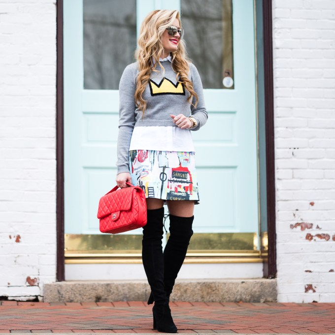 alice and olivia, graphic sweater, colorful, chanel, chanel classic, chanel top handle bag, chanel sunglasses, stuart weitzman boots, stuart weitzman highland boots, michele watch, michele deco watch, david yurman bracelet, smashbox liquid lipstick, red lips, otk boots