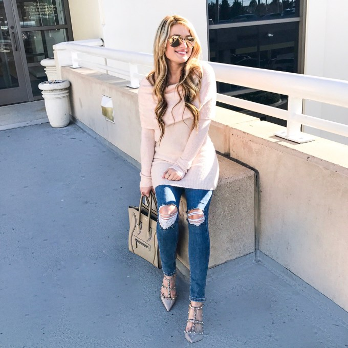 off the shoulder sweater, ripped denim, celine, topshop, ray ban, mirrored aviators