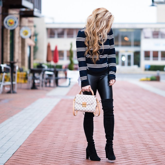 veronica beard, faux leather leggings, louis vuitton handbag, stuart weitzman boots, over the knee boots, curls, stripes, chanel aviators