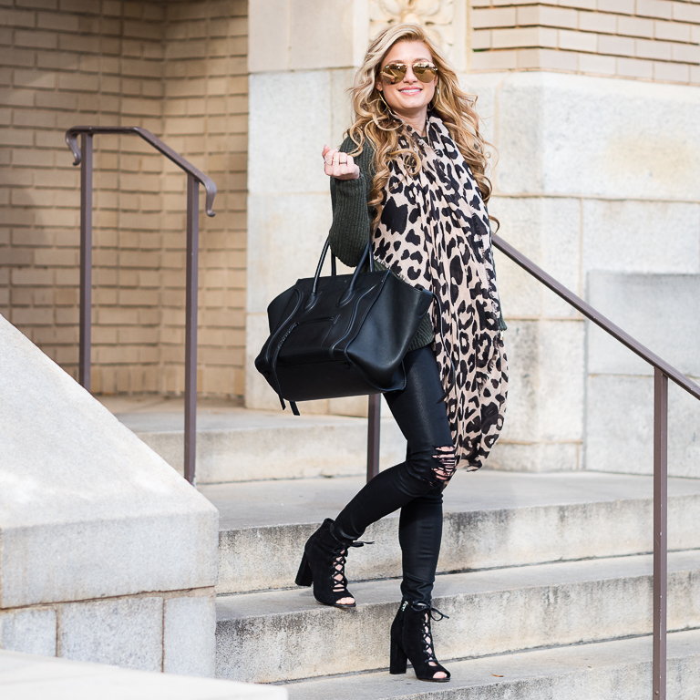pop of leopard, celine phantom bag, leopard scarf, sam edelman booties, trouve, nordstrom, ray ban, mirrored aviators