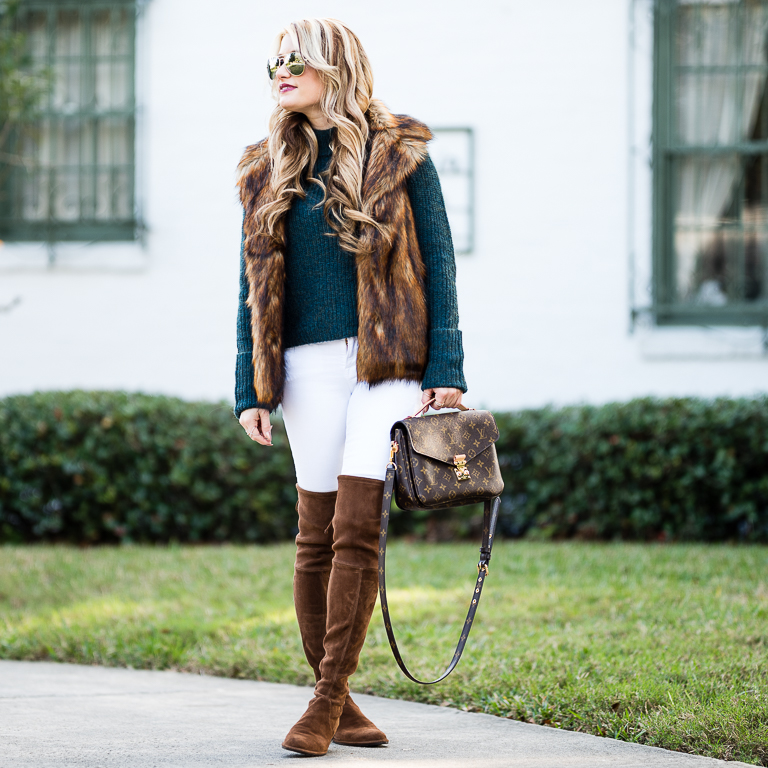 faux fur, topshop, frame denim, stuart weitzman boots, over the knee boots, sale, louis vuitton, sweater, sale