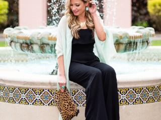 wayf, jumpsuit, leopard clutch, clare v, scarf, mint green, turquoise, celine sunglasses, wedges, nordstrom, spring fashion