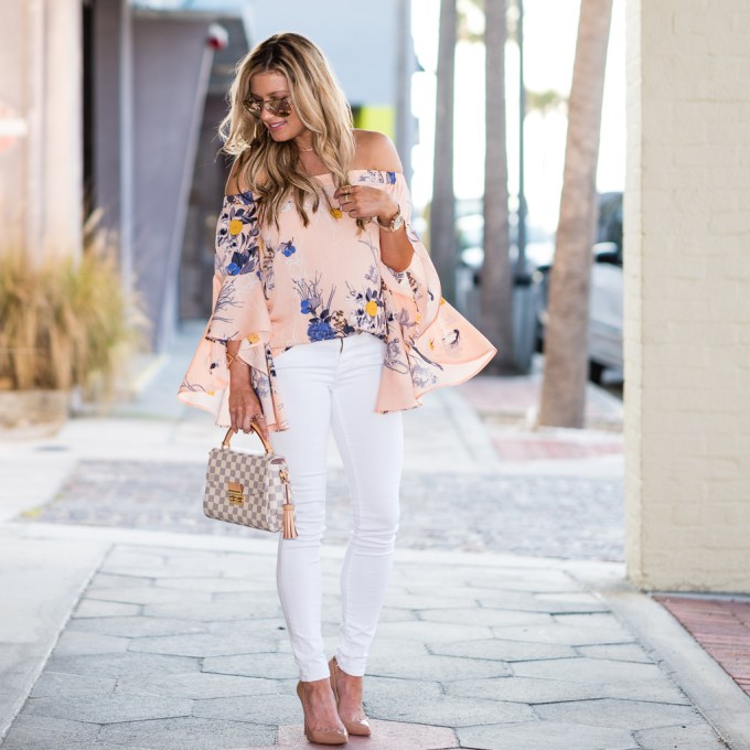 chelsea28, off the shoulder top, ruffle sleeves, white denim, christian louboutin pumps, pigalle, nude pumps, floral top, kendra scott, louis vuitton, blanknyc jacket, nordstrom, rose gold