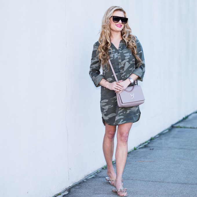 denim jacket, express, camo dress, shirt dress, valentino flip flop, valentino rockstud, louis vuitton bag, celine sunglasses, kendra scott jewelry