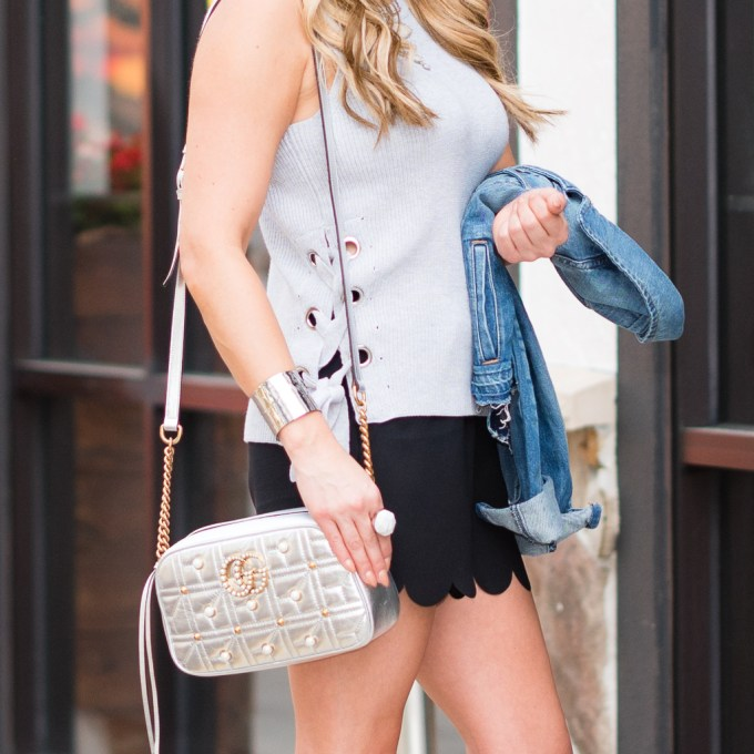 1 state, lace up sweater, scalloped shorts, madewell, express, denim jacket, gucci, gucci marmont handbag, sam edelman shoes, celine sunglasses, neutrals