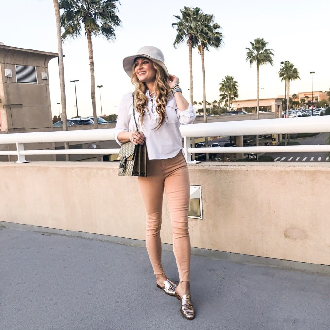 veronica beard, topshop jeans, gucci handbag, gucci dionysus, white blouse, classic, lace up top, raw hem, metallic loafers, rag and bone fedora