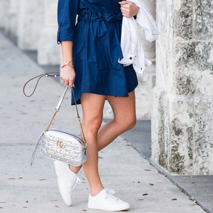 rag and bone sneakers, gucci , metallic, white sneakers, topshop, shirtdress, navy, quay australia