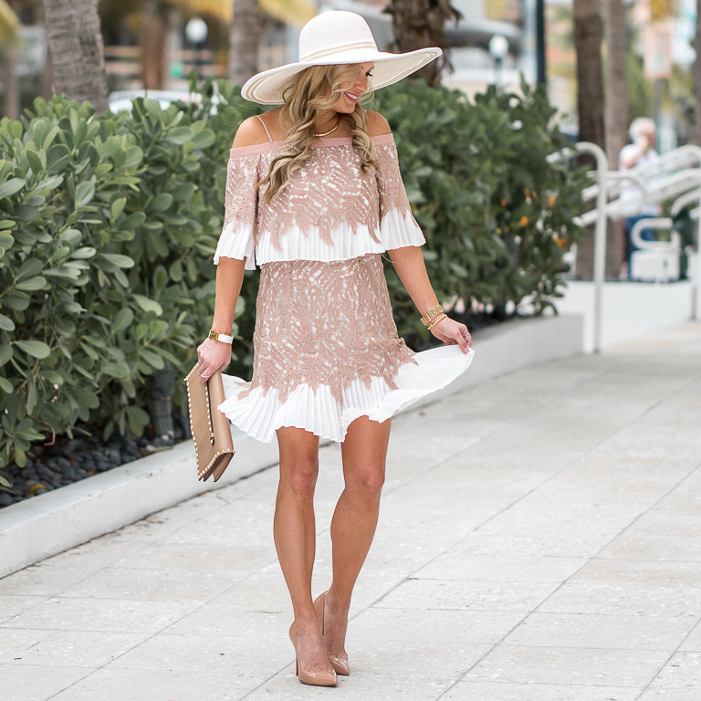 topshop lace dress, floppy hat, hinge, christian louboutin pumps, pigalle, valentino clutch, kentucky derby, easter, off the shoulder dress, lace dress
