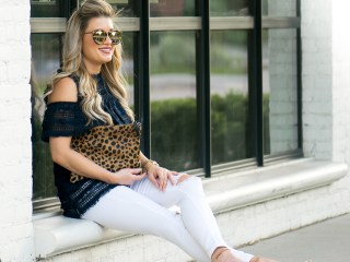 cold shoulder top white denim steve added leopard clutch