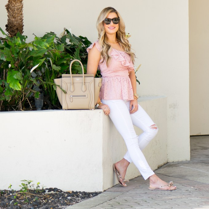 joa, one shoulder top, white denim, celine micro luggage, valentino rockstud flip flops, celine sunglasses