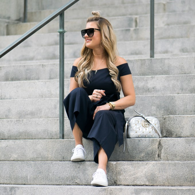chelsea28, jumpsuit, sneakers, gucci, topknot, lana jewelry, celine sunglasses, metallic, bows