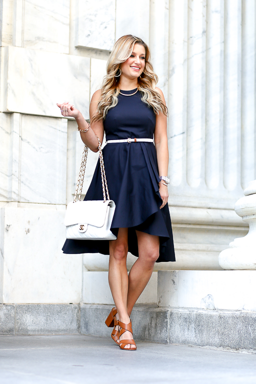 dress, easter, navy, chanel, nordstrom, ruffle, wedges, spring dress